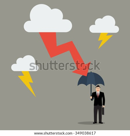 Businessman with umbrella protect from thunderstorm. Business concept