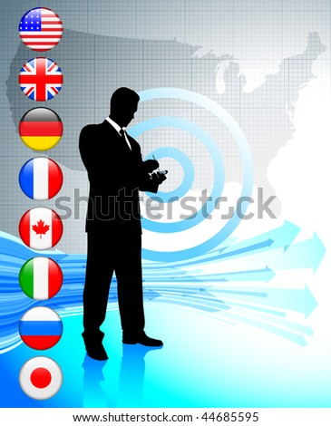Businessman with USA map and internet flag buttons Original Vector Illustration - stock vector