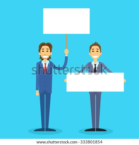 Businessman With White Board, Signboard, Showing An Empty Copy Space, Business Man Cartoon Flat Vector Illustration - stock vector