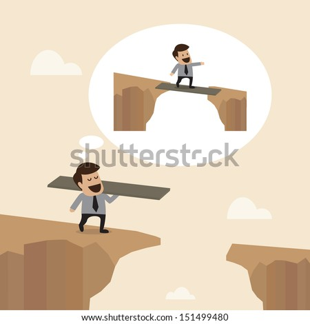 Businessman with wooden plate to Cross the cliff