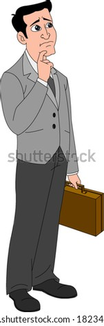 Businessman with worried expression - stock vector