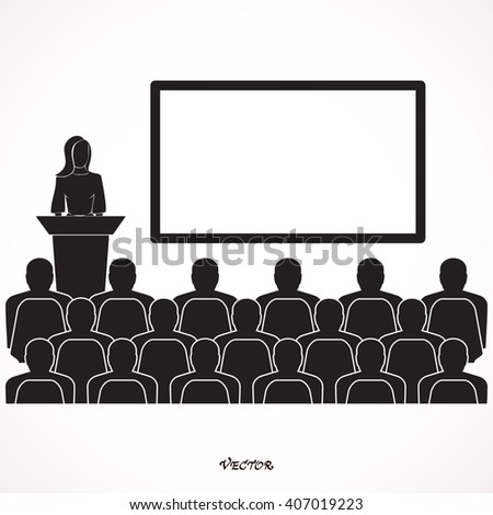 Businessman woman giving a presentation  standing next to a blank white board.