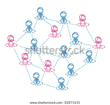 businessman & woman network - stock vector