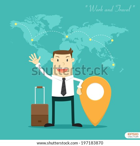 Businessman Work and Travel - stock vector