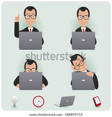 Businessman working. A businessman at work sitting on his desk and working on his laptop. - stock vector