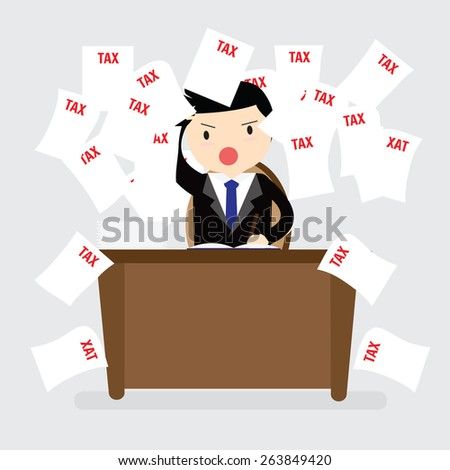 Businessman working and falling tax papers - stock vector