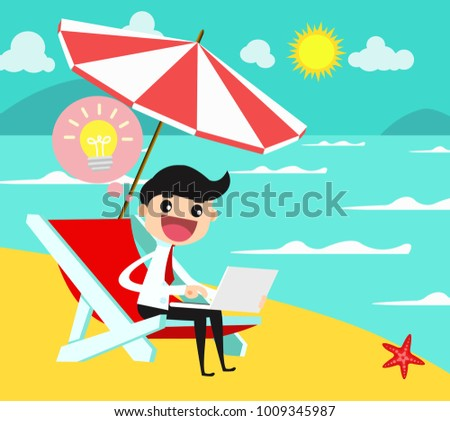 Businessman working and relaxing on beach. business concept vector illustration.