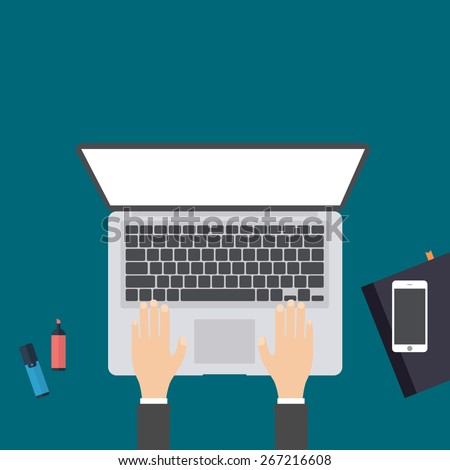 Businessman working at a white laptop. Hand on notebook keyboard with blank screen monitor. Flat design concept with copy space. Vector illustration - stock vector