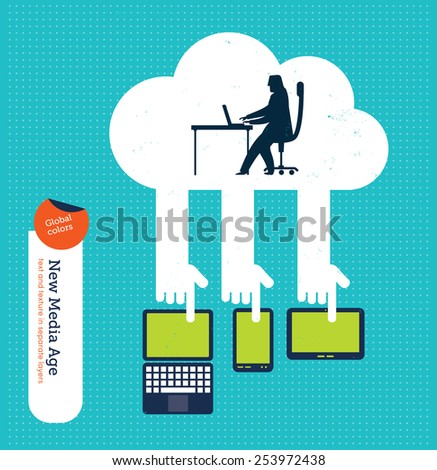 Businessman working from a cloud with laptop mobile phone and tablet. Vector illustration Eps10 file. Global colors. Text and Texture in separate layers. - stock vector