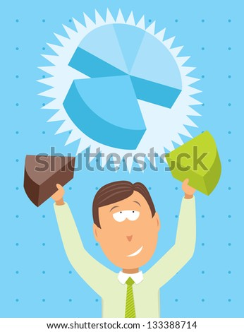 Businessman working on a pie chart - stock vector