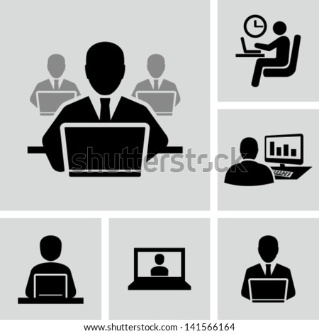Businessman working on computer - stock vector