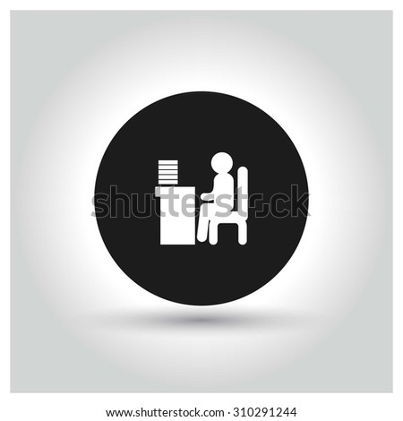 businessman working on computer Icon. Black Circle Pictogram. vector illustration - stock vector
