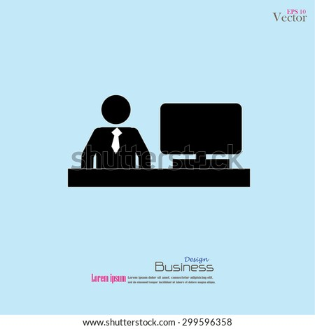 Businessman working on computer.man with computer.vector illustration. - stock vector