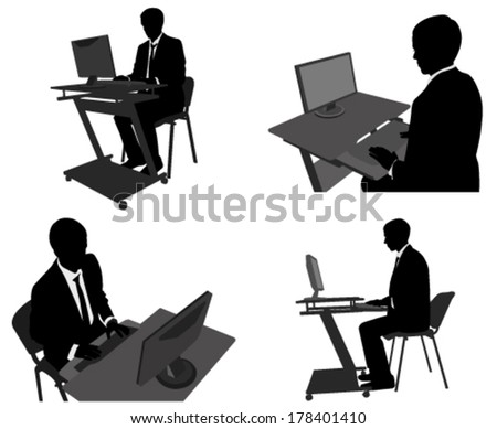 businessman working on his computer - stock vector