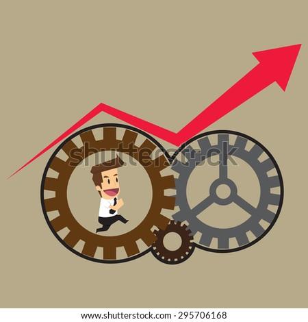 businessman working on internal gear arrows. vector - stock vector