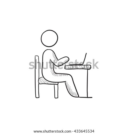 Businessman working on laptop vector sketch icon isolated on background. Hand drawn Businessman working on laptop icon. Businessman working on laptop sketch icon for infographic, website or app. - stock vector