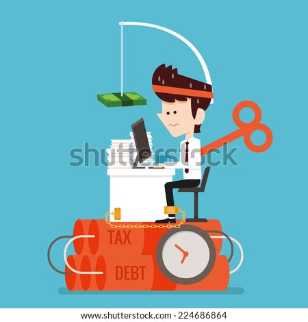 Businessman working Stressed flat design - stock vector