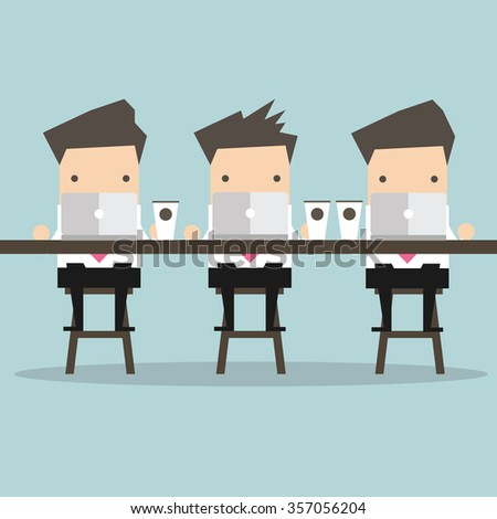 Businessman working with laptop at coffee bar - stock vector