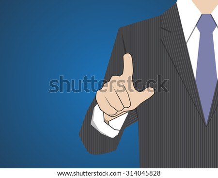 Businessman working with modern virtual technology, hand touching - stock vector