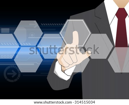 Businessman working with modern virtual technology, hand touching  pointing to businessman icon in the middle that linked with each other as network - HR,HRM,HRD, teamwork & leadership concept - stock vector