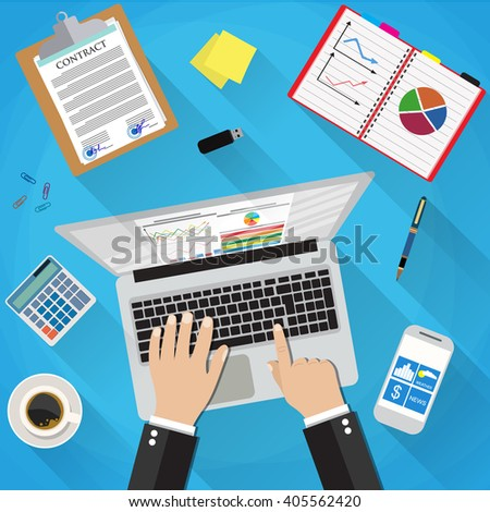 Businessman Workplace Desk Hands Working Laptop, sticky notes, contract papers, smartphone, calculator, pen, coffee cup. vector illustration in flat design with long shadows on blue background - stock vector
