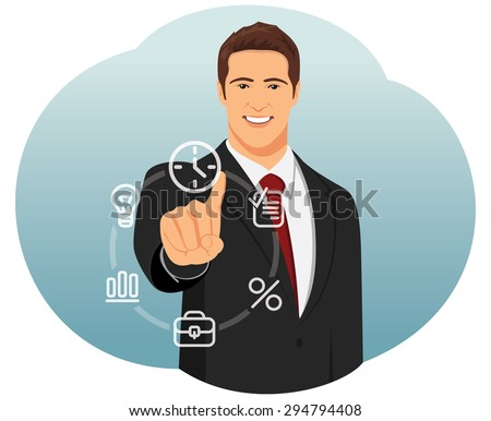 Businessman works with a futuristic touch screen with icons - stock vector