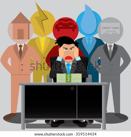 Businessman Worried Stress Expenses And Payments Feeling Desperate In Bad Financial Situation. Vector illustration - stock vector