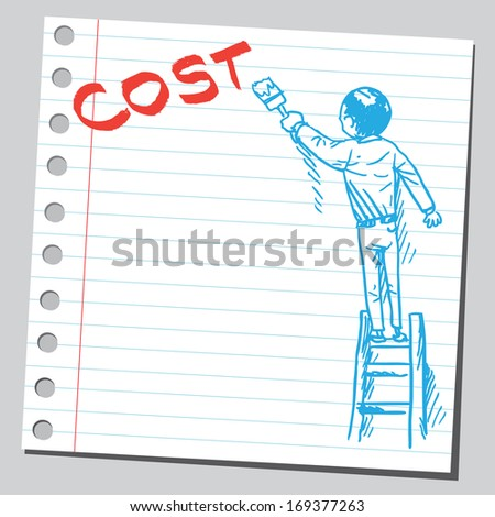 Businessman write word COST