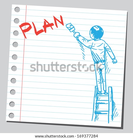 Businessman write word PLAN