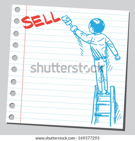 Businessman write word SELL