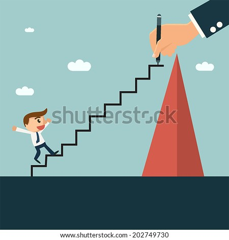 Businessman writting ladder for his partner to easy climbing hill, mentor and partnership concept. - stock vector
