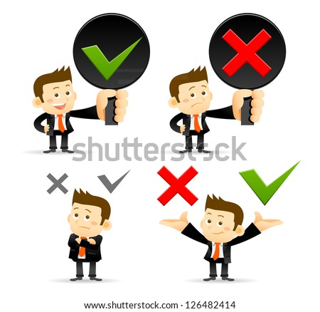 Businessman & yes ,no sign - stock vector
