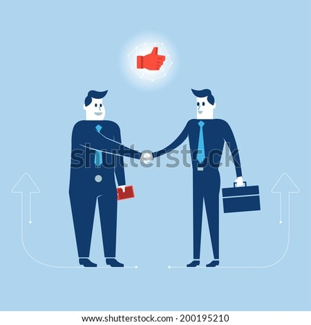 Businessmans agree big deal shake hand - stock vector