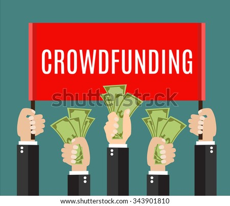 Businessmans hands. A lot of hands hold a placard and money. Businessmen giving a cache. Investing or crowdfunding concept. Vector illustration in flat style  - stock vector