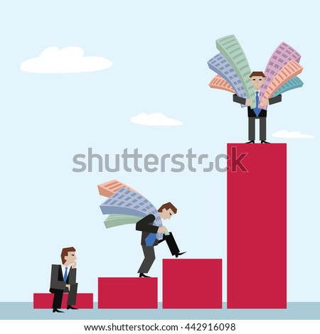 Businessmans with houses. Business concept the real estate market with chart. Vector illustration of three businessmans with houses standing sitting going on chart, isolated on sky background. - stock vector