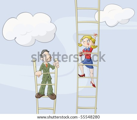 Businessmen and business lady are climbing up on a ladder which symbolizes career growth - stock vector