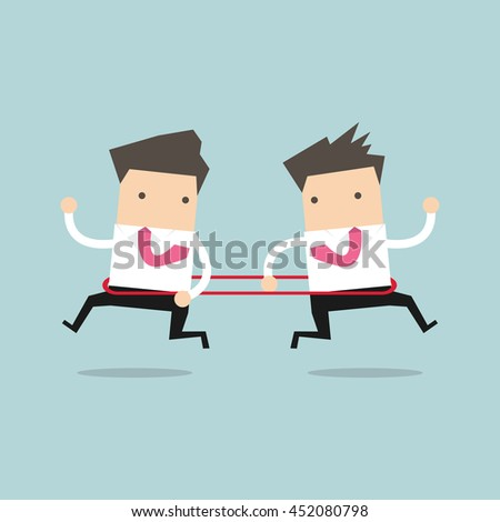 Businessmen are running to the opposite direction from each other. vector - stock vector