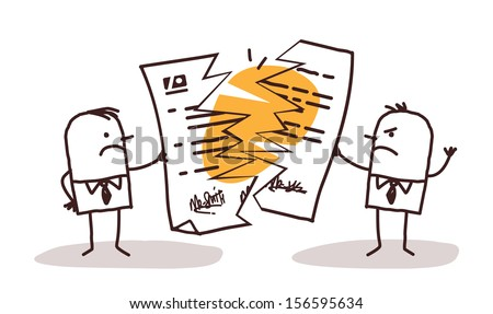 Businessmen Breaking A Contract - stock vector