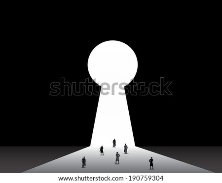 Businessmen & businesswomen front of key hole door concept. Professional dressed businessman and woman stand thinking in front of a bright keyhole door with black background wall illustration - stock vector