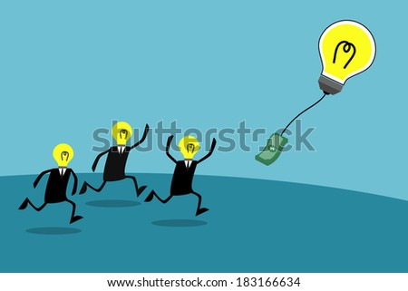Businessmen chasing a bulb balloon with money, Business idea - stock vector