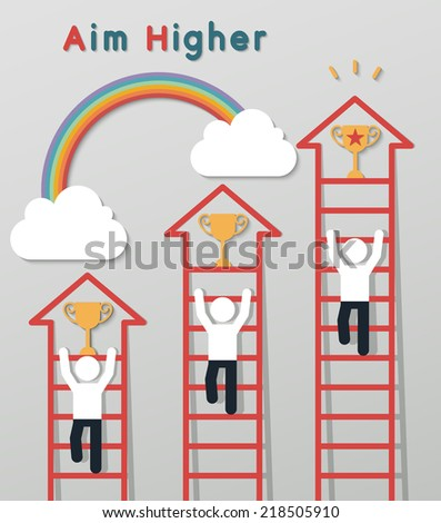 businessmen climbing the ladder to get a trophy on rainbow sky background. idea leadership business plan concept in modern flat style. vector - stock vector