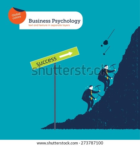 Businessmen climbing the mountain of success. Vector illustration Eps10 file. Global colors. Text and Texture in separate layers. - stock vector