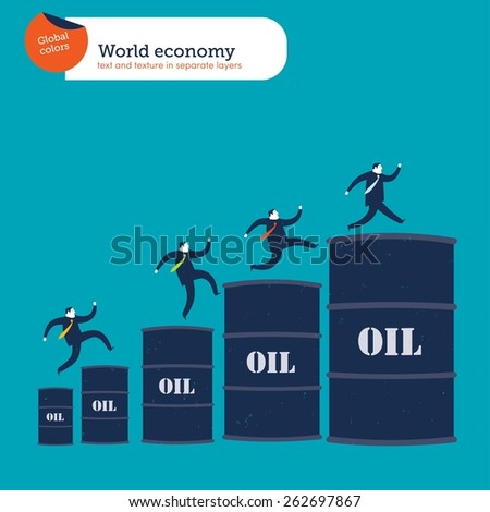 Businessmen climbing up an oil barrel's chart.  Vector illustration Eps10 file. Global colors. Text and Texture in separate layers.