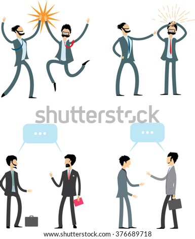 businessmen communicate emotionally. dialogue office people isolated on white. flat style vector illustration - stock vector