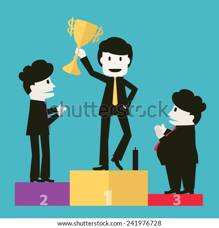 Businessmen congratulated the winners. - stock vector