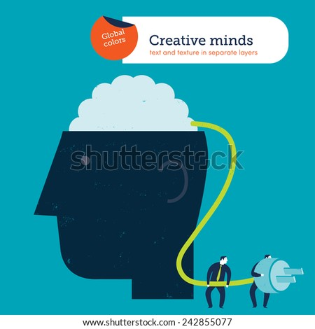 Businessmen connecting a brain to the electricity. Vector illustration Eps10 file. Global colors. Text and Texture in separate layers.