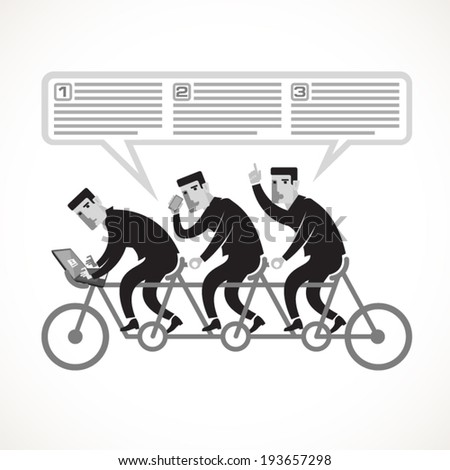 Businessmen cycling on a tandem bike as an example of teamwork. - stock vector