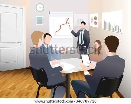 Businessmen discuss sales growth in the office chart Businessman shows on board plot sruppa employees at work, flet, vector office workers to discuss at the meeting, isolated, office interior - stock vector