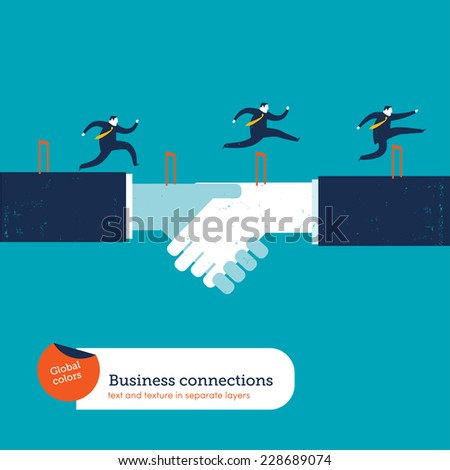 Businessmen doing steeplechase. Vector illustration Eps10 file. Global colors. Text and Texture in separate layers. - stock vector