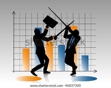 Businessmen fighting - stock vector